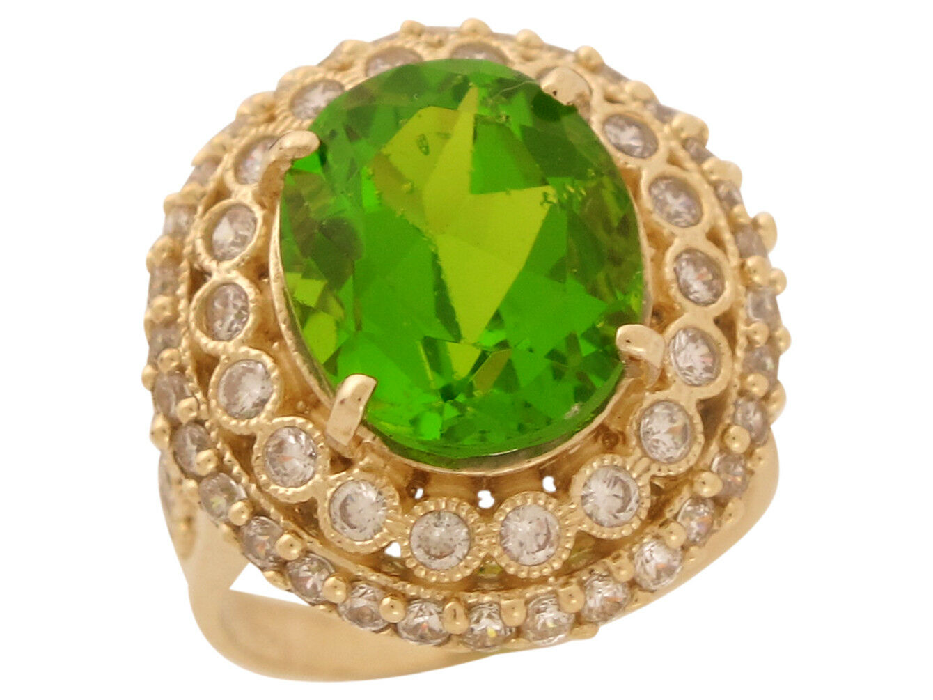 10k or 14k gold White CZ Simulated Peridot August Birthstone Ladies Fancy Ring