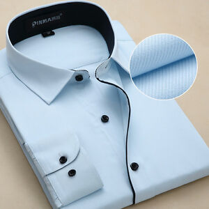 Luxury-Business-Men-039-s-Dress-Shirts-Casual-Slim-Fit-Long-Sleeves-Multicolor-Z6301