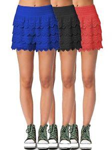 Lau-Fashion-Damen-Shorts-kurze-Hose-mit-Spitze-Minirock-Heckeloptik-Sommer-S-M