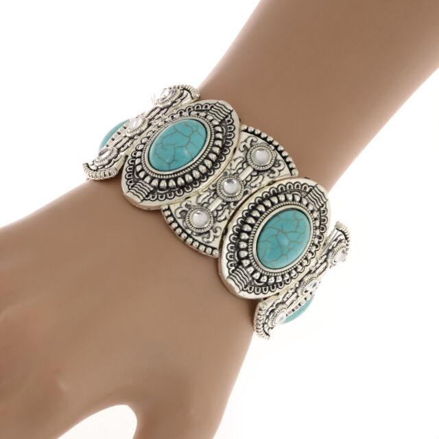 Fashion Natural Turquoise Wristlet Jewelry Tibet Silver Hook Bracelets Bangle