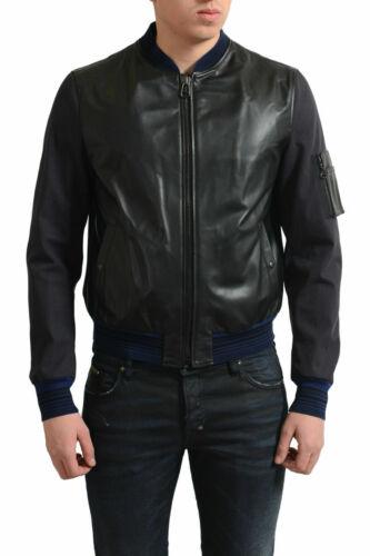 Lanvin Men/'s Black /& Blue 100/% Leather Front Full Zip Bomber Jacket US XS S M