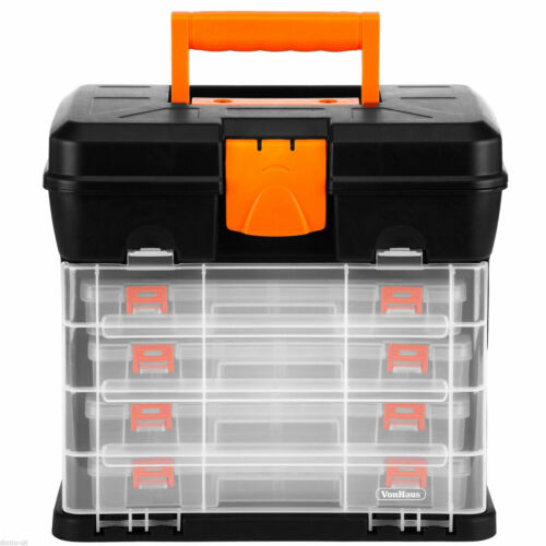 2 in 1 Utility Carry Case Garage Tools Storage Box Chest with 4 Drawers Cabinet