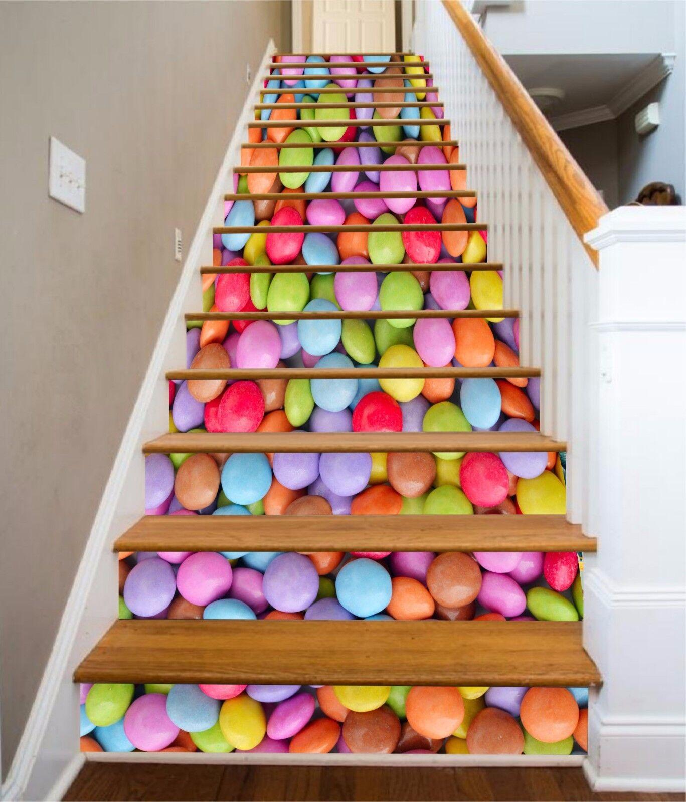 3D Rainbow Candy 428 Risers Decoration Photo Mural Vinyl Decal Wallpaper CA