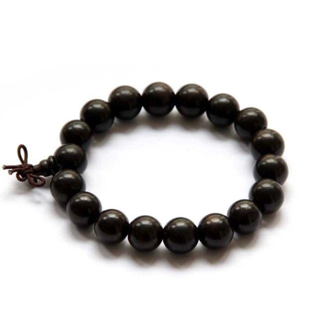 12mm Black Sandalwood Beads Tibet Buddhist Prayer Bracelet Mala