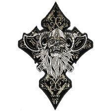 Embroidered Celtic Ghost Skull Cross Sew or Iron on Patch Biker Patch