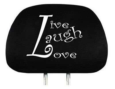 New One Interchangeable Live Laugh Love Logo Car Seat Headrest Cover Universal