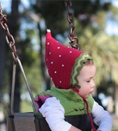 San Diego Hat Daylee Design  RED STRAWBERRY Pixie Bonnet 12-24 mos 1-2 year gift