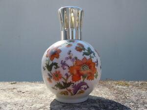 Details Sur Lampe Berger Porcelaine Limoges Tharaud France Decor De Fleurs