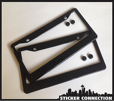 Black Premium License Plate Frame Set  with screw caps Plastic Cover Tag blank