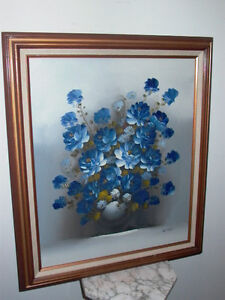 Image is loading Framed-Oil-on-Canvas-Floral-Blue-Flowers-Vase- & Framed Oil on Canvas Floral Blue Flowers Vase Painting Signed Giddy ...