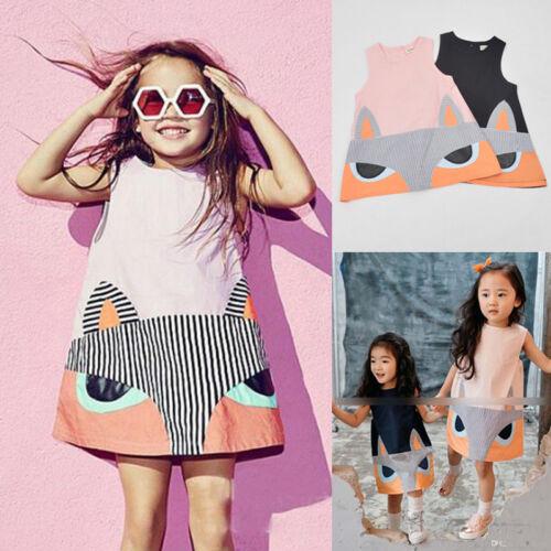 UK Kids Girls Clothes Cotton Fox Print Sleeveless T Shirt Dress Outfit 2-7Y