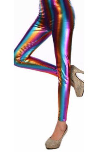 Childrens Girls Wet Look Rainbow Metallic Shiny Party Disco Dance Legging Pants