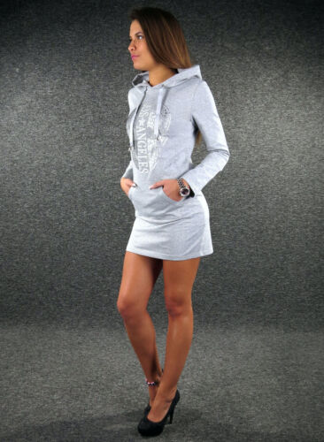 ZAZOU Chemise longue tete de mort noir XS S M L Jersey Robe Capuche Shirt Robe f5