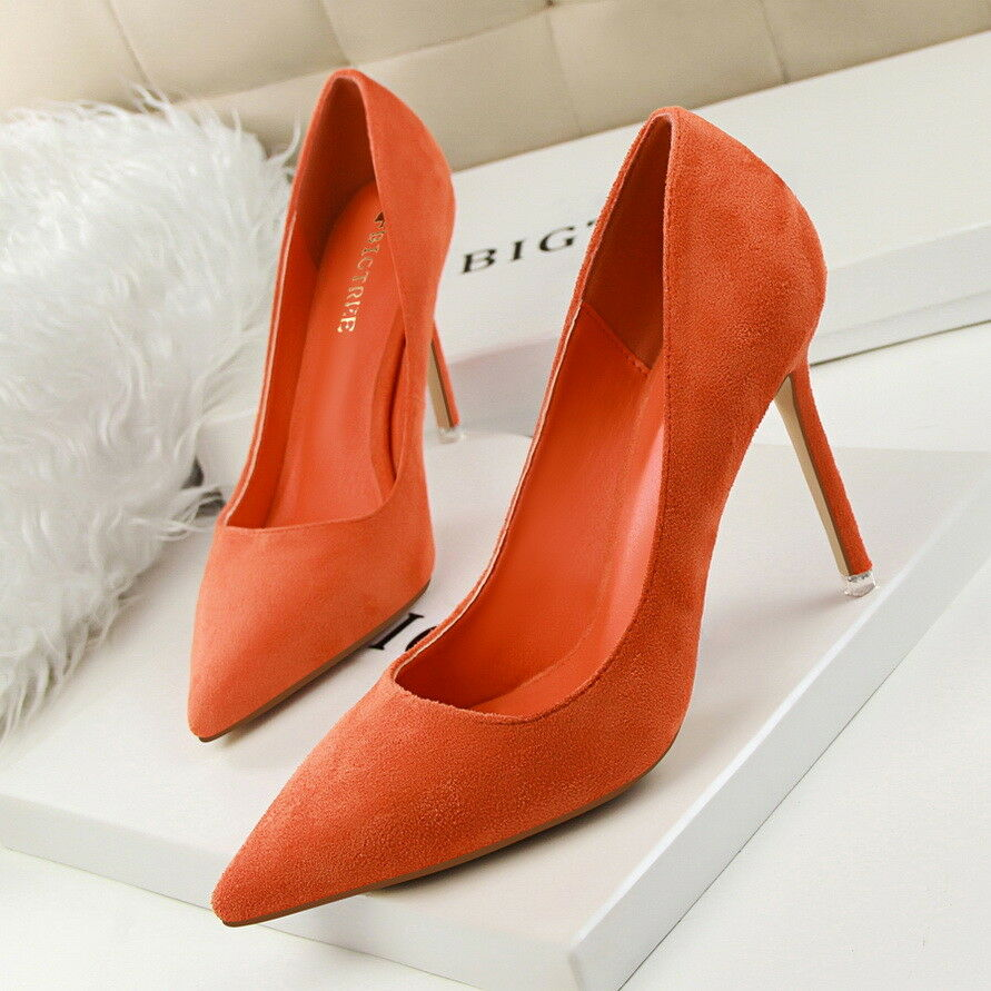Women Pumps Pointed Toe Faux Suede High Heel Stiletto Slip On Party Ladies Shoes