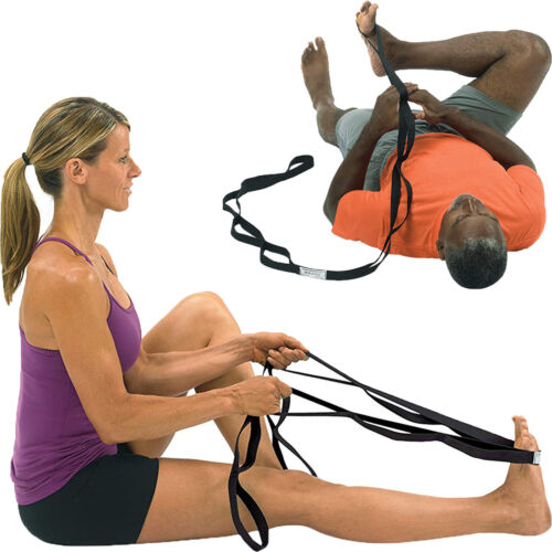 Black XL OPTP Stretch Out Strap with Instructional Stretching Exercise Poster