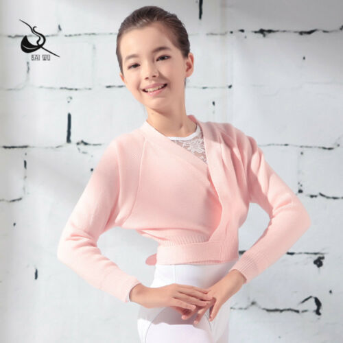 Girls Knit Ballet Gymnastics Crossover Ballet Wrap Top Dance Sweater