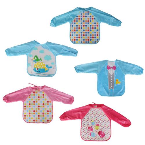 Baby Toddler Waterproof Long Sleeve Children Kids Feeding Bid Art Smock Apron