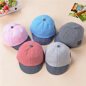 8159764f4f2 Image is loading Baby-Boys-Girls-Toddler-Summer-Cotton-Hats-Striped-