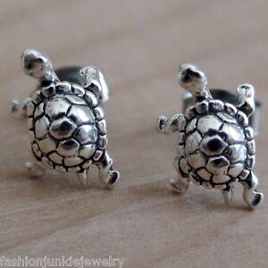 6bf75deb4 Image is loading Sterling-Silver-Box-Turtle-Tortoise-Stud-Earrings-NEW