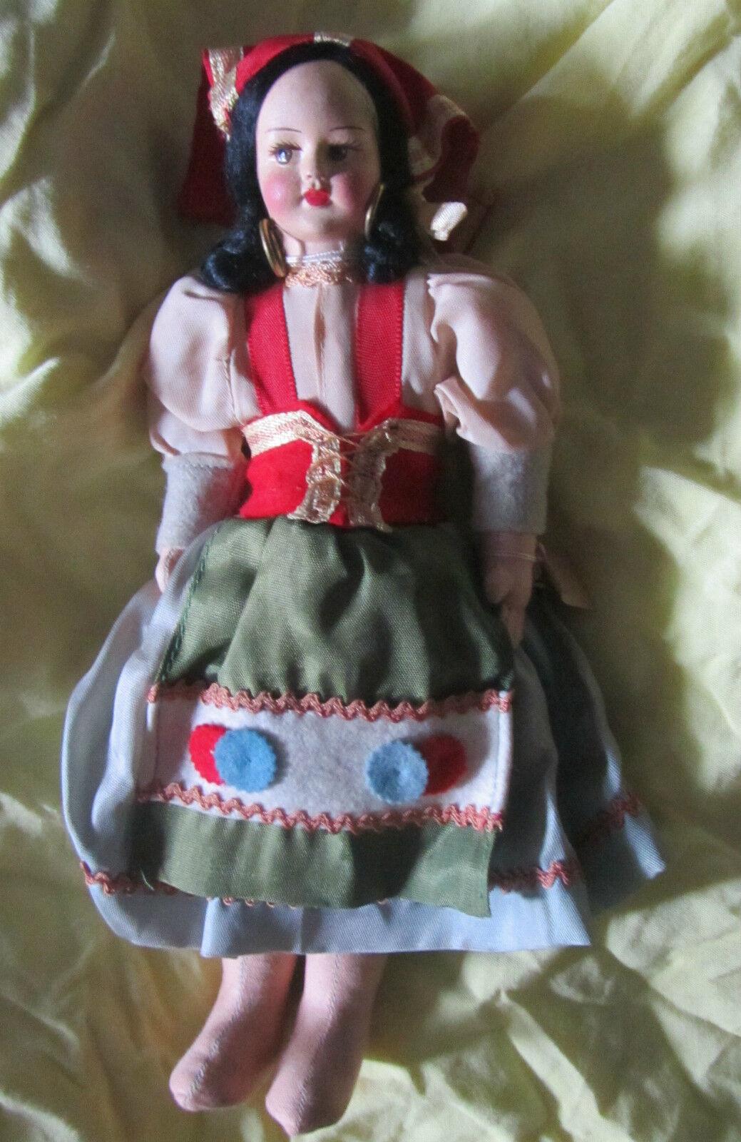 Puppe Vintage Napoli Dunkel Merkmale, Stoff, Stoff, Merkmale, Komposition, Ethnisch Look Great aa3e67