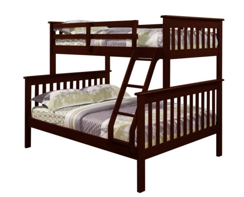 Wood w//xtra Full Support Bar Cappuccino 1 Donco Kids Twin over Full BUNK BED