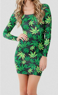 New Sexy Hiphop Green Weed Maple Leaf  Print Long Sleeve Tights dress