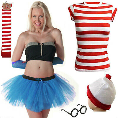 Nuovo Donne Ragazze Red & White Stripe Fantasia Party Dress Costume Libro Giorno Speciale-mostra Il Titolo Originale