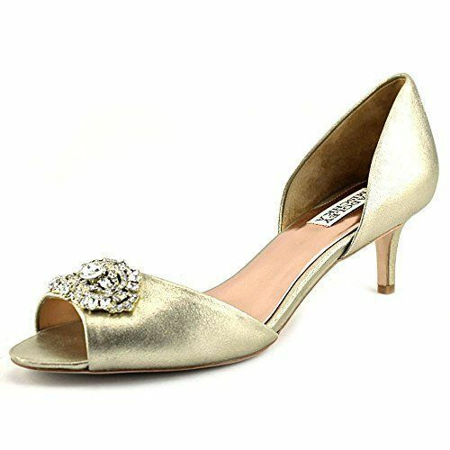 235 Dimensione 7 Badgley Mischka Petrina Platino Leather Peep Toe Pump donna scarpe