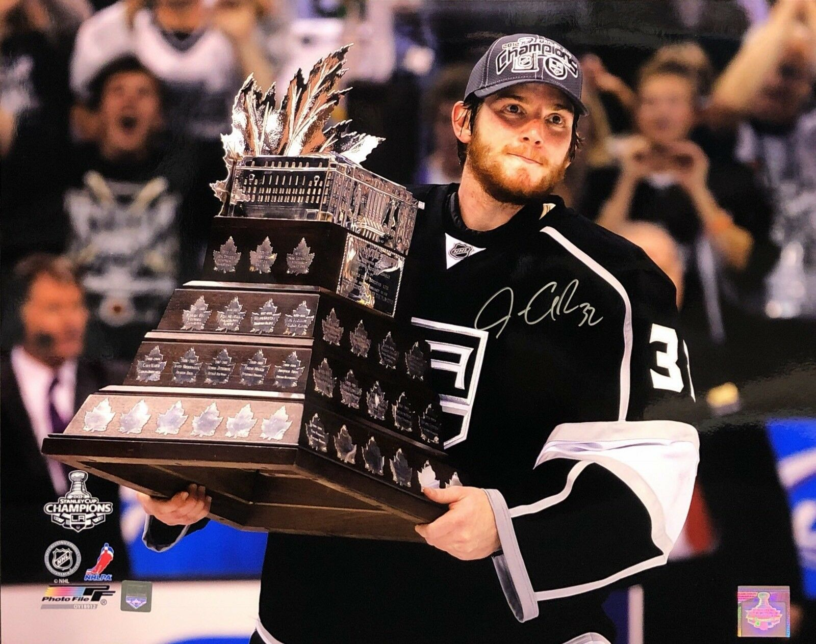 Jonathan Quick Signed LA Kings Stanley Cup Trophy 16x20 Photo J. Quick COA