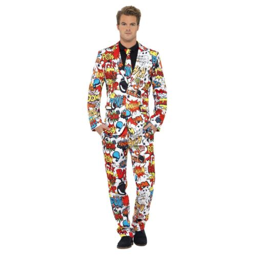 Adult Mens Ladies Comic Book Strip Superhero Stand Out Suit Fancy Dress Costume