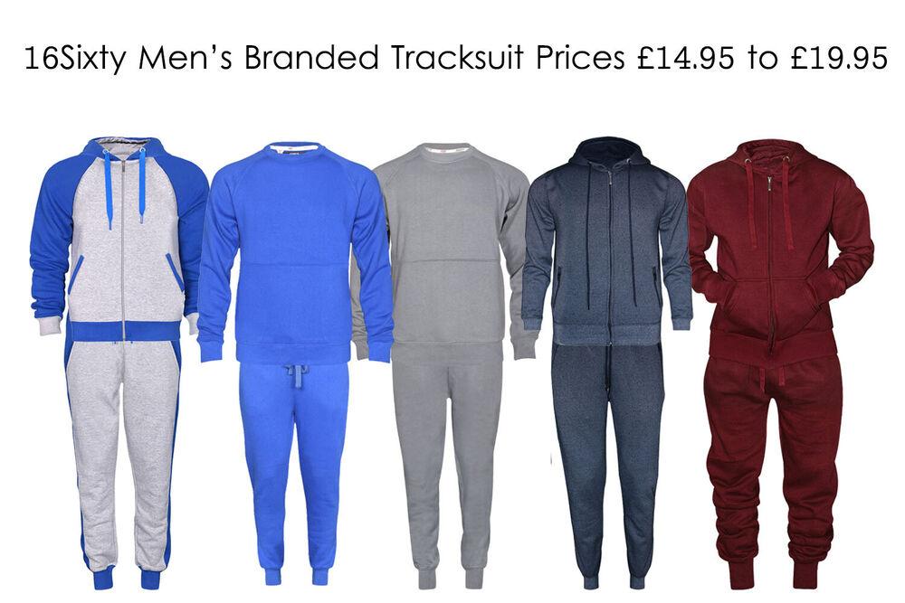 16 Soixante Homme Zip Complet Bas Contraste Cordon Uni Survêtement Jogging Costume