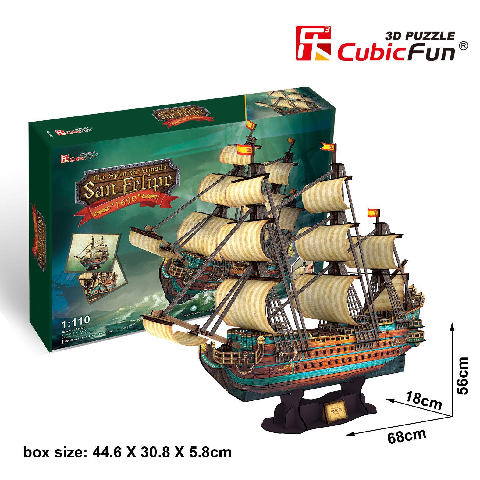 Spanish Armada San Felipe 3D Puzzle Jigsaw Model 248 Pcs 68x18x56cm T4017