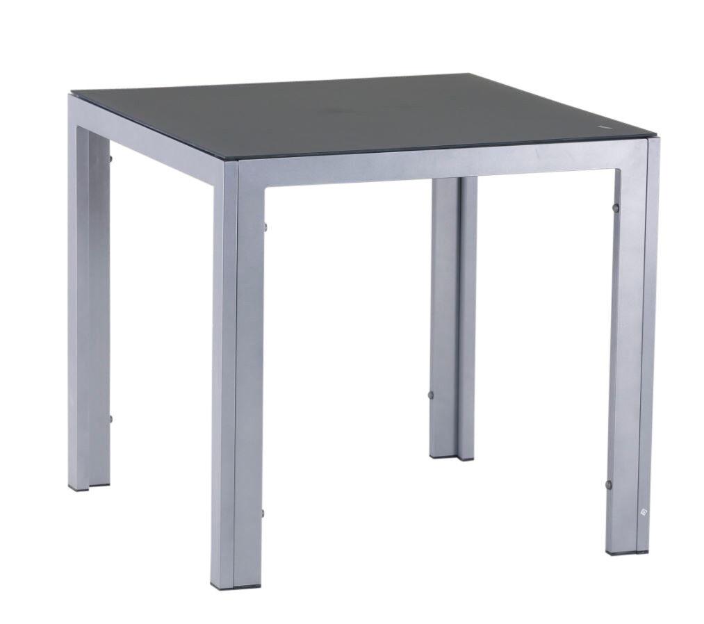 Mesa de jardín aluminio 80 x 80 cm luna plata resistente a la intemperie muebles de jardín mesa de balcón mesa estable