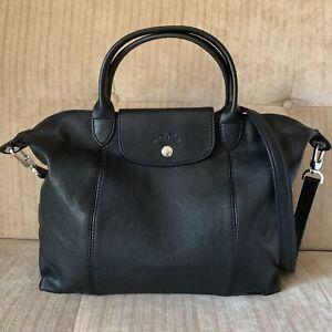 Details about Longchamp Black Le Pliage Cuir Lambskin Top Handle Medium  Handbag Crossbody Bag