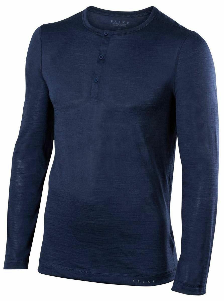 Falke Mens Silk Wool Long Sleeve Shirt - Space Blau