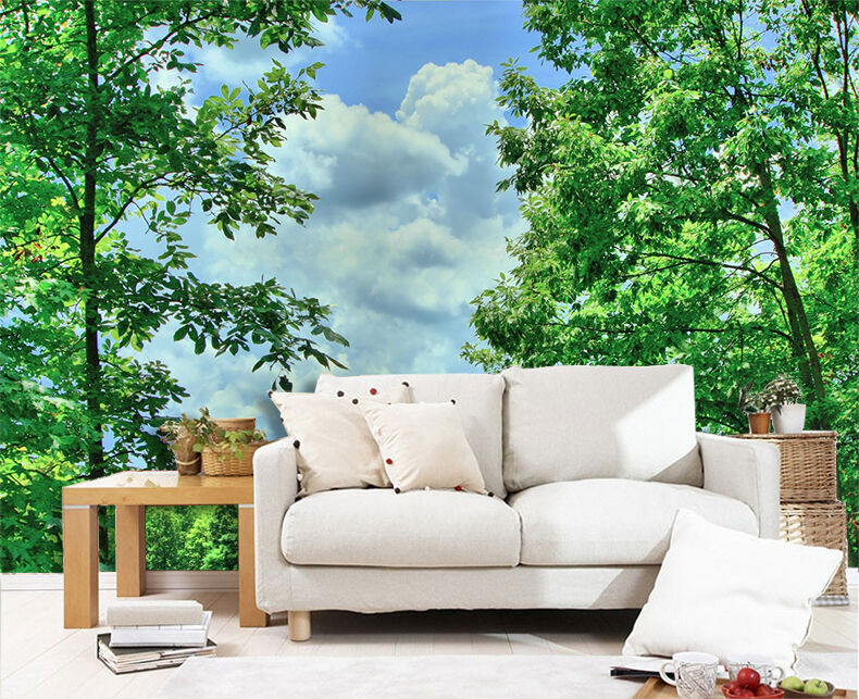 3D Forest Park Grün tree Wall Paper Print Decal Wall Deco Indoor wall Mural