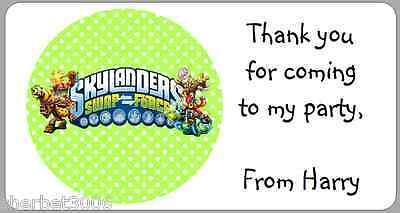 24 X Personalised Stickers Skylanders Swap Force Green Labels Party Thank You