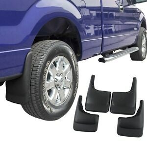 F150 Mud Flaps >> Details About Fits Ford F150 Mud Flaps 2004 14 Mud Guards Splash Molded 4 Piece Front And Rear