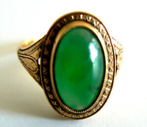 26b9559c31e1b Details about Natural imperial Green 18K Yellow Gold Jadeite Jade Ring  VintageAntique Art Deco