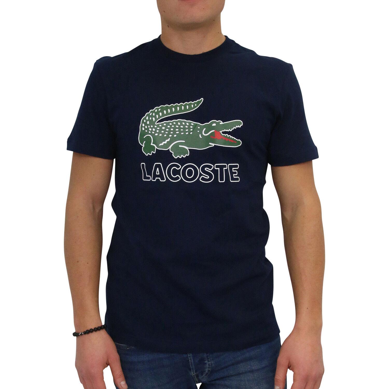 LACOSTE GIROCOLLO T-shirt shirt a maniche corte UOMO LOGO Blu Scuro th6386 166