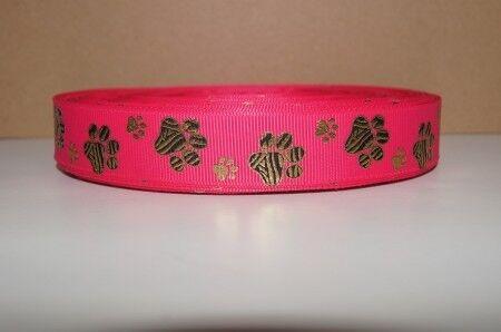 1356 Goldpfote auf Pink Borte Webband 22mm Breite Ripsband