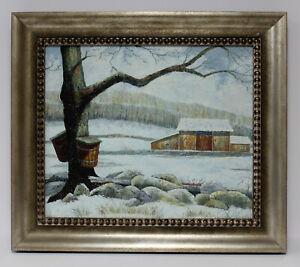 Snow-Maple-Tree-Landscape-20-x-24-Art-Oil-Painting-on-Canvas-w-Champaign-Frame
