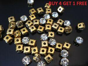 SS45-Cucire-Strass-Trasparente-Oro-Cristalli-Diamante-Finto-Matrimonio-Cucito