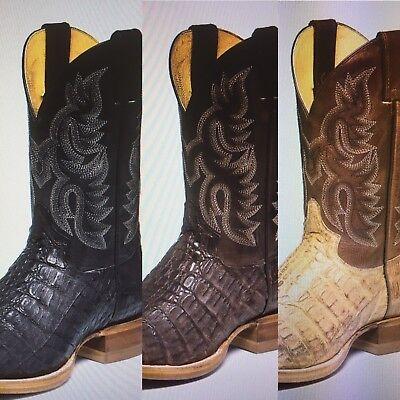 17cdba9e4aa Men's Justin Boot Exotic Caiman Almond Chocolate/Black/Browns Square Toe  New!!   eBay