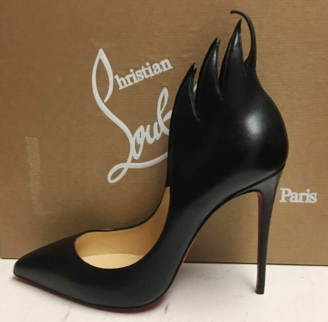 5d4b0829885 Christian Louboutin Victorina Flame 100 Nappa Shiny Black Pumps Heels Shoes  38