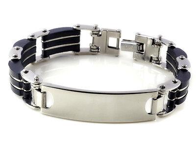 Men's Black Silver Stainless Steel Rubber Biker Bracelet Bangle Chain Jewelry