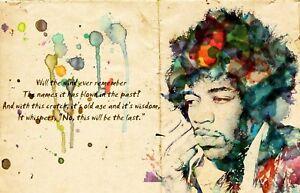 Jimi Hendrix Quote Music Legend Watercolour Photo Poster Canvas