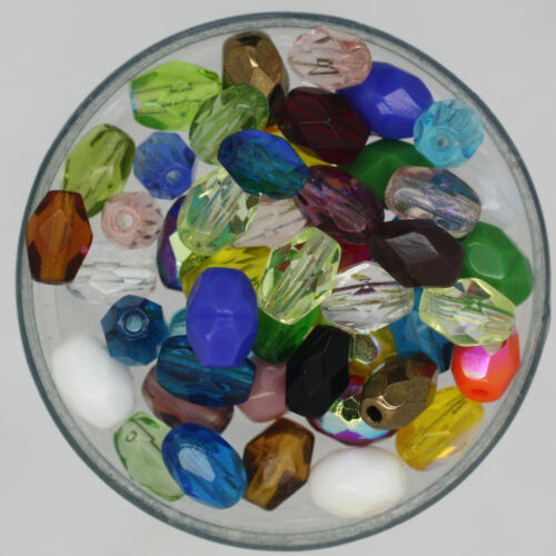 Czech Glass 6x4mm Oval Fire Polished Facet Bead Mix Assorted Colors /& Finishes