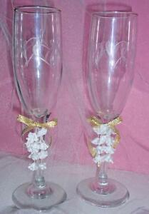 Details About Champagne Toasting Flutes Etched Hearts 8 3 4 Gold Ribbon Wine Glasses 61