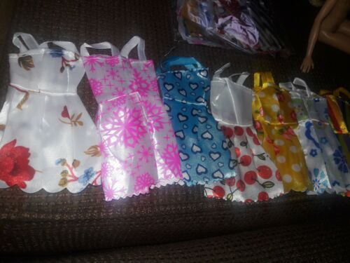 Lot Of Barbie doll SATIN dresses accessories 10 Mini Dresses Multi Colored New